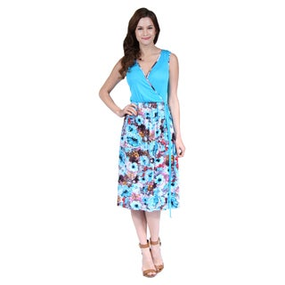 24/7 Comfort Apparel Women's Turquoise Floral Printed Dress