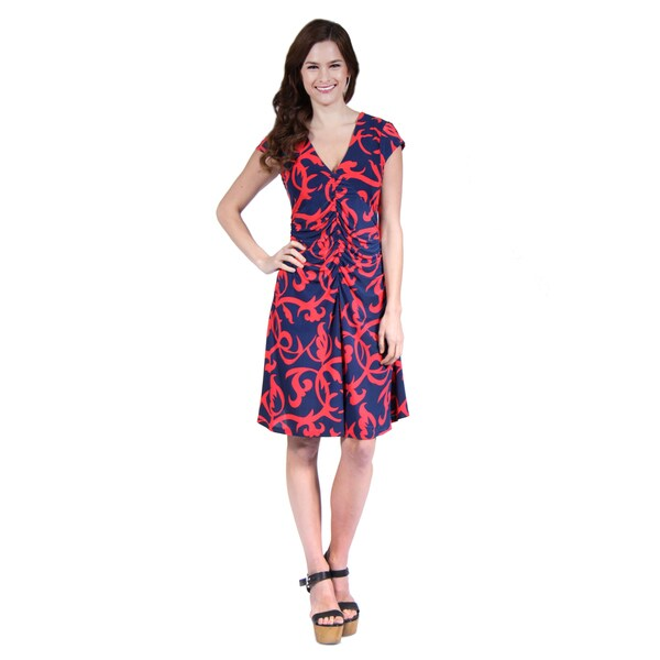 24/7 Comfort Apparel Woman's Navy and Red Abstract Printed Faux Wrapped Dress
