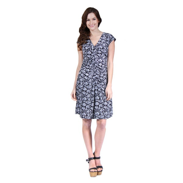 24/7 Comfort Apparel Floral Grey Printed Dress