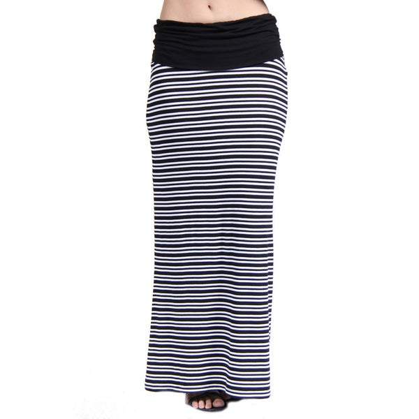 24/7 Comfort Apparel Women's Black/ White Stripe Print Fold-Over Maxi Skirt
