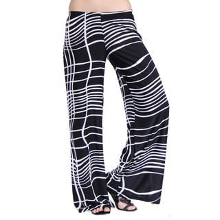 24/7 Comfort Apparel Women's Abstract Stripe Palazzo Pants