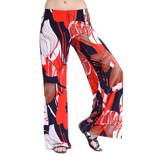 24/7 Comfort Apparel Women's Abstract Floral Print Palazzo Wide-leg Pants