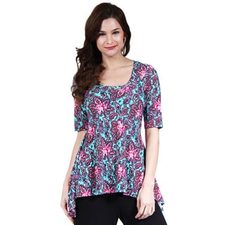24/7 Comfort Apparel Women's Pink and Mint Paisley High-Low Tunic