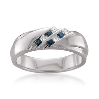 Montebello 14k White Gold Men's 1/6ct TDW Princess-cut White Diamond and Blue Sapphire Wedding Band (H-I,SI1-SI2)