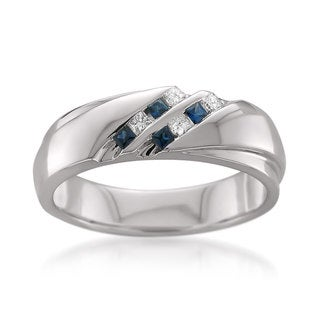 14k White Gold Men's 1/6ct TDW Princess-cut White Diamond and Blue Sapphire Wedding Band (H-I,SI1-SI2)