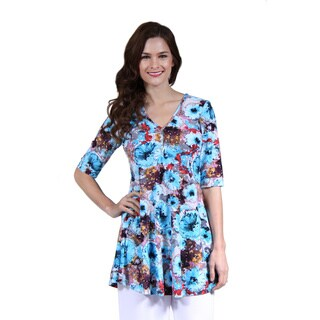 24/7 Comfort Apparel Women's Abstract Floral Henley Tunic
