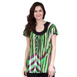 24/7 Comfort Apparel Women's Natural Scheme Scoop Neck Tunic