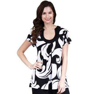 24/7 Comfort Apparel Women's Black and White Printed Scoop-Neck Tunic