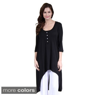 24/7 Comfort Apparel Women's 3/4 Sleeve Extra-Long Tunic