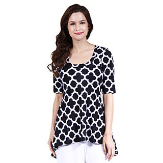 24/7 Comfort Apparel Women's Abstract Print High-Low Tunic