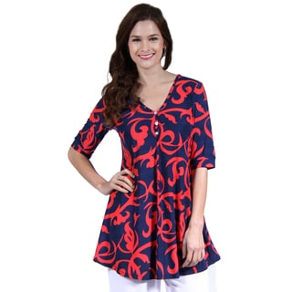 24/7 Comfort Apparel Women's Abstract Red and Navy Henley Tunic Top