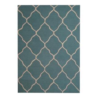 Herat Oriental Indo Hand-tufted Contemporary Design Light Green/ Beige Wool Rug (5' x 7')