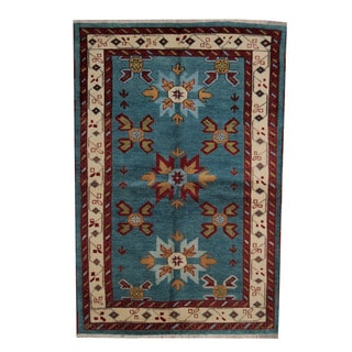 Herat Oriental Indo Hand-knotted Tribal Kazak Blue/ Red Wool Rug (5'3 x 7'10)