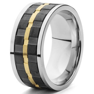 Men's Blackplated and Goldplated Textured Spinner Band Ring (10 mm)