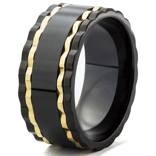 Men's Blackplated Stainless Steel and Goldplated Ribbed Edge Band Ring (10 mm)