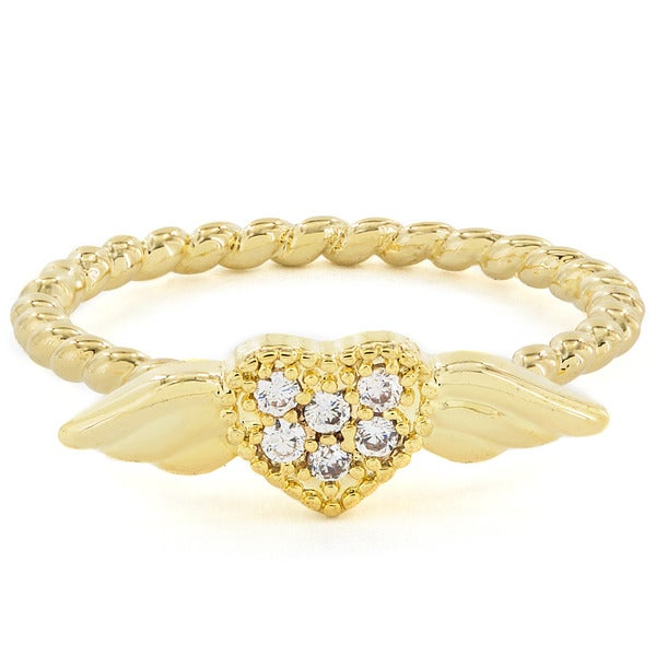 Goldtone Heart Wing Crystal Midi Knuckle Ring