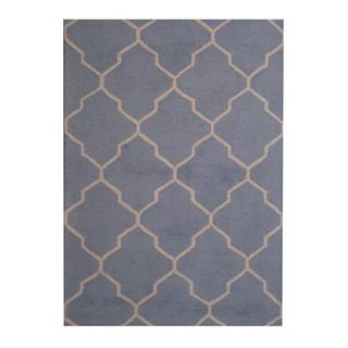 Herat Oriental Indo Hand-tufted Contemporary Design Light Blue/ Beige Wool Rug (5' x 7')