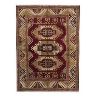 Herat Oriental Indo Hand-knotted Tribal Kazak Red/ Navy Wool Rug (5'9 x 7'11)