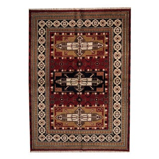 Herat Oriental Indo Hand-knotted Tribal Kazak Red/ Black Wool Rug (5'7 x 7'10)