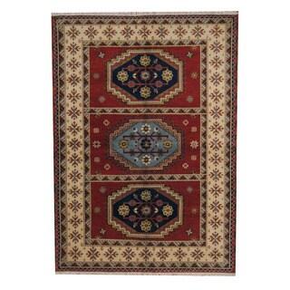 Herat Oriental Indo Hand-knotted Tribal Kazak Red/ Navy Wool Rug (5'8 x 8'1)