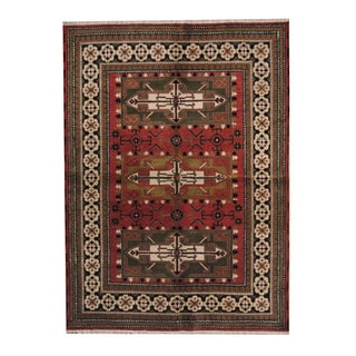 Herat Oriental Indo Hand-knotted Tribal Kazak Red/ Green Wool Rug (5'9 x 8'1)