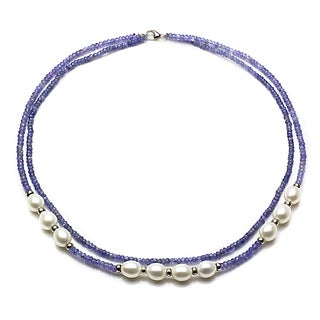 DaVonna Sterling Silver Blue Tanzanite and White Cultured Pearl Necklace