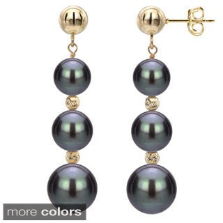 DaVonna Black Freshwater Graduated Pearl and Beads Dangle Earring