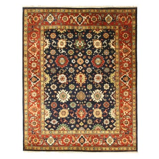 EORC SHT19NV Navy Hand Knotted Wool Super Mahal Rug, 8' x 10'