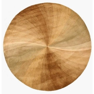 EORC T67BE Gold Hand Tufted Wool Beige Swirl Rug, 7'9 Round