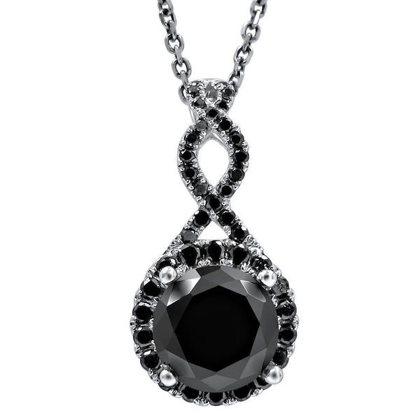 Noori 2 1/6 TDW Black Diamond Infinity Knot Pendant with 14k White Gold Necklace (VVS1-VVS2)