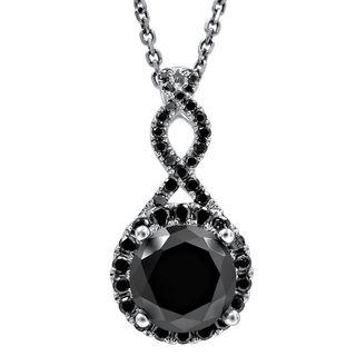 Noori 2 1/6 TDW Black Diamond Infinity Knot Pendant with 14k White Gold Necklace (VVS1-VVS2)