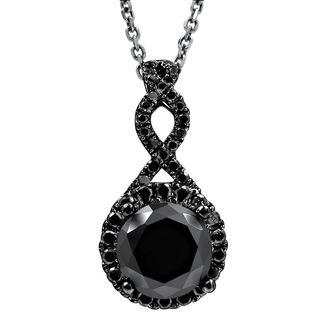 Noori 2 1/6 TDW Black Diamond Infinity Knot Pendant with 14k Rhodium Gold Necklace