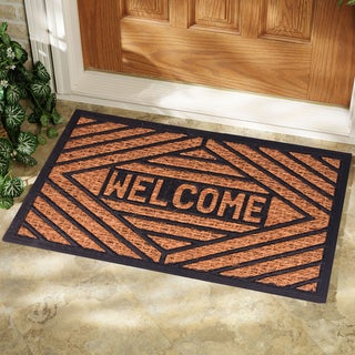 Rubber and Natural Coir Rectangle Welcome Doormat (1'6 x 2'6)