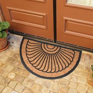 Rubber and Natural Coir Slice Geometric Doormat (1'6 x 2'6)