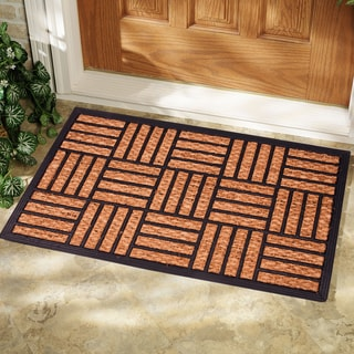 Rubber and Natural Coir Rectangle Geometric Doormat (1'6 x 2'6)