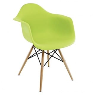 Contemporary Retro Molded Eames Style Lime Green Accent Plastic Dining Armchair