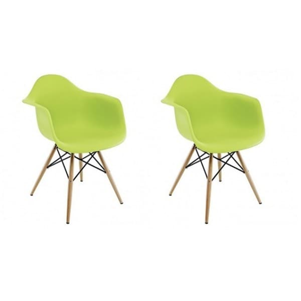 Contemporary Retro Molded Eames Style Lime Green Accent Plastic Dining Armchair (Set of 2)