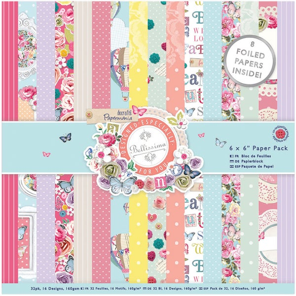 "Papermania Paper Pack 6""X6"" 32/Sheets-Bellissima"