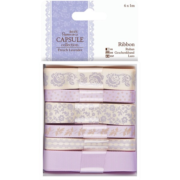 Papermania French Lavender Ribbon-6 Styles/1m Each