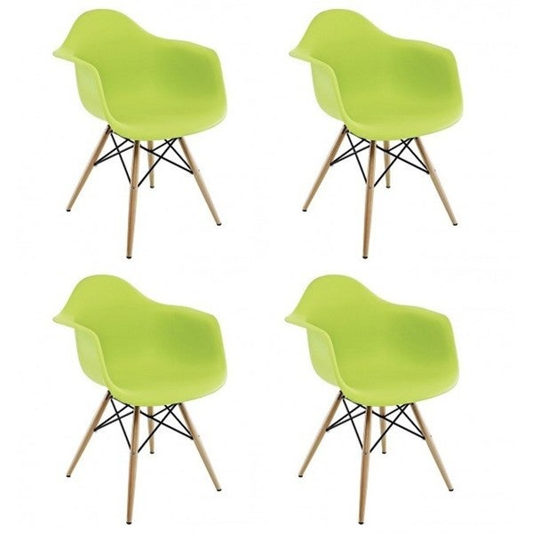 Contemporary Retro Molded Eames Style Lime Green Accent Plastic Dining Armchair (Set of 4)