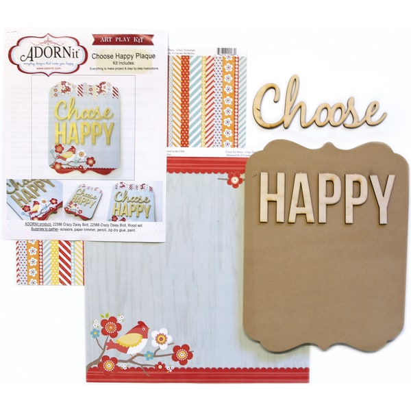 Art Play MDF Word Plaque With Words Kit-Choose Happy