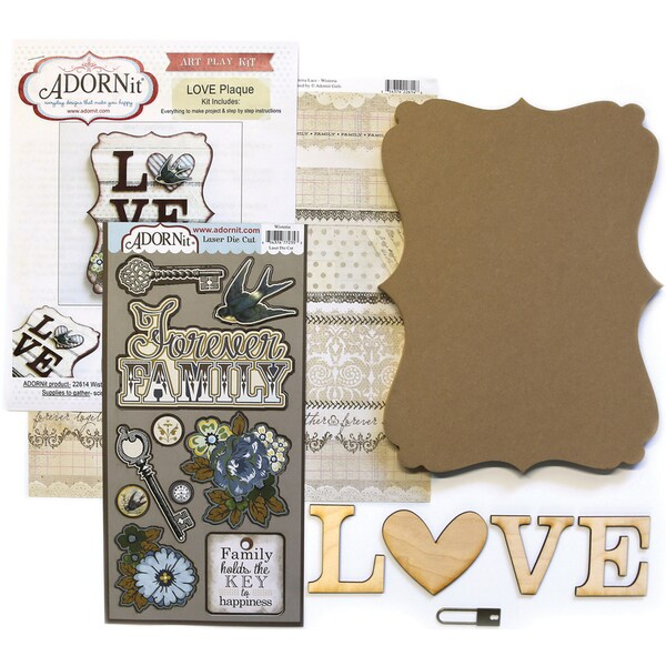 Art Play MDF Word Plaque With Words Kit-Love