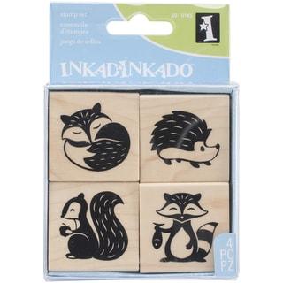 "Inkadinkado Mounted Stamp Set 3""X3""-Woodland Critters"