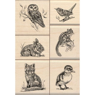"Inkadinkado Mounted Stamp Set 3.25""X4.75""-Wildlife Friends"