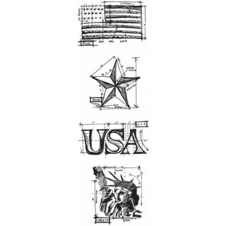 "Tim Holtz Mini Blueprints Strip Cling Rubber Stamps 3""X10""-Americana"