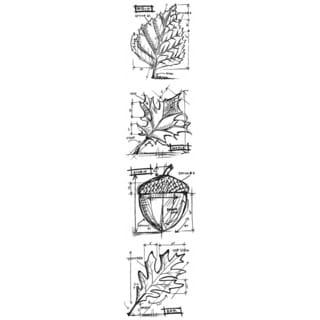 """Tim Holtz Mini Blueprints Strip Cling Rubber Stamps 3""""X10""""-Autumn"""