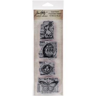"Tim Holtz Mini Blueprints Strip Cling Rubber Stamps 3""X10""-Easter"