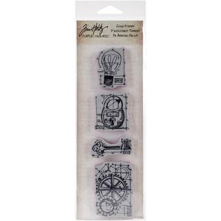 "Tim Holtz Mini Blueprints Strip Cling Rubber Stamps 3""X10""-Industrial"
