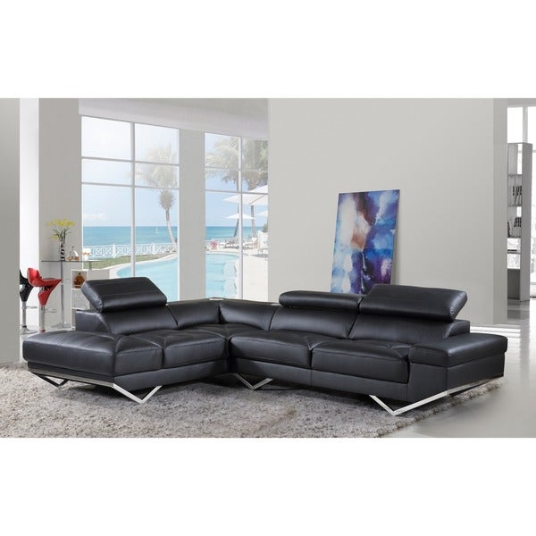 Iliana Leather Contemporary With Wireless Bluetooth Speaker Sectional Sofa Set
