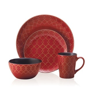 Pfaltzgraff Everyday Vintage Lattice Red 16-peice Dinnerware Set